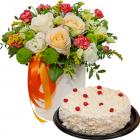 Композиция «Кремовый шик» с тортом